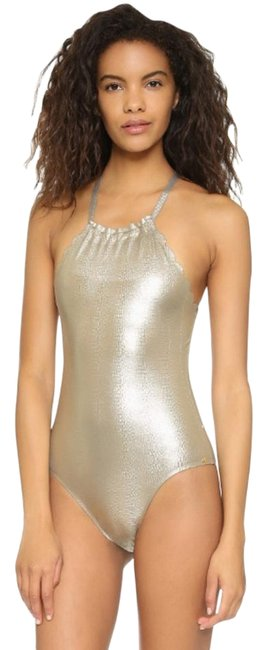 Item - Gold/Black Oro Reversible Seamless Wave One-piece Bathing Suit Size 8 (M)