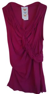 Anthropologie Pink Fuchsia Ruched Sleeveless Tunic Top
