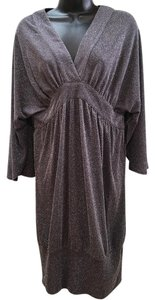 BCBGMAXAZRIA Silver Sparkle V-neck Wide Sleeves Dress