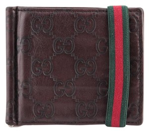 Gucci * Gucci Web GG Embossed Bifold Money-clip Leather Wallet