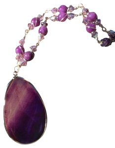 Lisa Crystal Creations Handmade Swarovski Crystal Purple Wire Wrapped Necklace