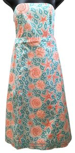 Lilly Pulitzer short dress Turquoise and coral Strapless Back Bow Cutout on Tradesy