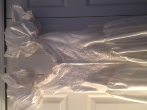 David's Bridal White Polyester Formal Wedding Dress Size 12 (L)