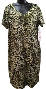 short dress Olive and black Animal Print on Tradesy