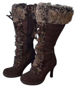 Rouge Helium Sexy Knee High Brown with sable faux fur Boots
