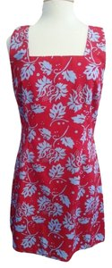 Express short dress Red floral / blue Summer Reversible Microfiber on Tradesy