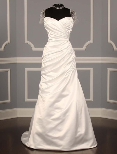 Reem Acra White Carissa Satin Always and Forever Formal Wedding Dress Size 8 (M)