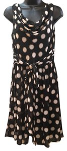 Evan Picone short dress Black/cream/tan Polka Dots on Tradesy