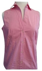 Gap Button Down Sleeveless Button Down Shirt Pink