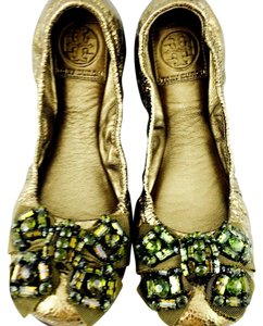 Tory Burch METALIIC GOLD GREEN Flats