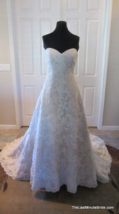 Allure Bridals Champagne / Ivory Lace Applique and Satin 9109 Feminine Wedding Dress Size 10 (M)
