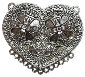 Ambrosius Heart Silver Connector Pendant,Charms