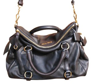 Miu Miu Calf Leather Satchel in Black