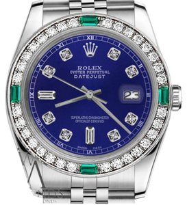 Rolex Women's Rolex 31mm Datejust Blue Color Dial with 8+2 Emerald Diamond