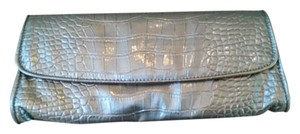 Ann Taylor LOFT Snakeskin Faux Patent Night Out Date Night Silver pewter gray plantinum Clutch