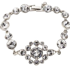 Givenchy Swarovski elements clear crystals sets in silver tone bracelet