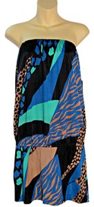 Tibi Colorful Animal Print Strapless Tunic