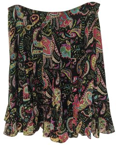 Ice Retail 100% Silk Skirt Multi-Color Paisley Print on Black