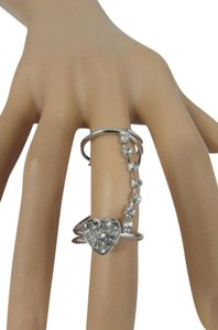 Other Women Long Twisted Fashion Ring Silver Metal Heart Rhinestones Knuckle
