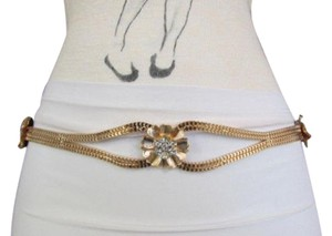 Other Women Metal Thin Fashion Belt Hip High Waist Big Flowers Studs Gold Mesh