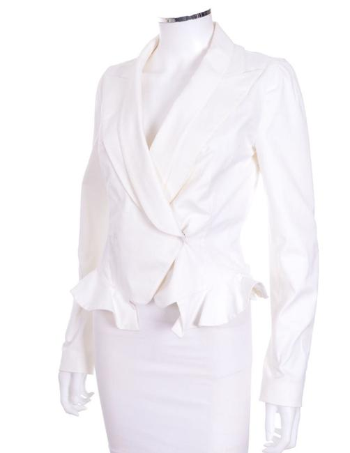 Givenchy Long Sleeve Blazer White Ruffles Peplum Ivory Jacket