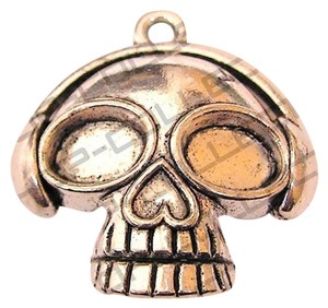 Other Sugar Skull Antique Silver Plated Pendant - item med img