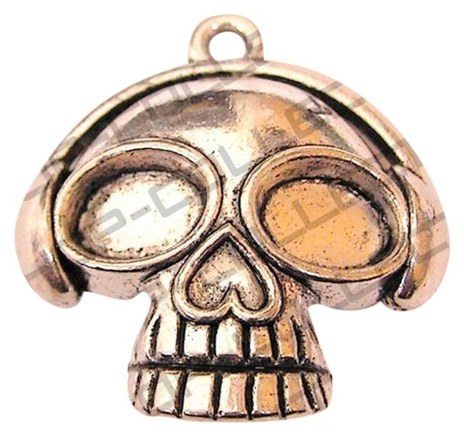 Silver Sugar Skull Antique Plated Pendant Charm Silver Sugar Skull Antique Plated Pendant Charm Image 1