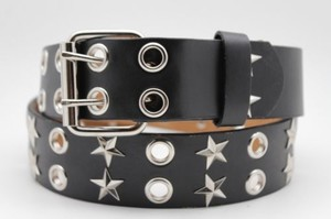 Other Women Rock Punk Black Faux Leather Fashion Belt Silver Texas Stars