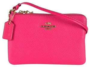 Coach Polished Leather Corner Zip Wristlet in Pink Ruby
