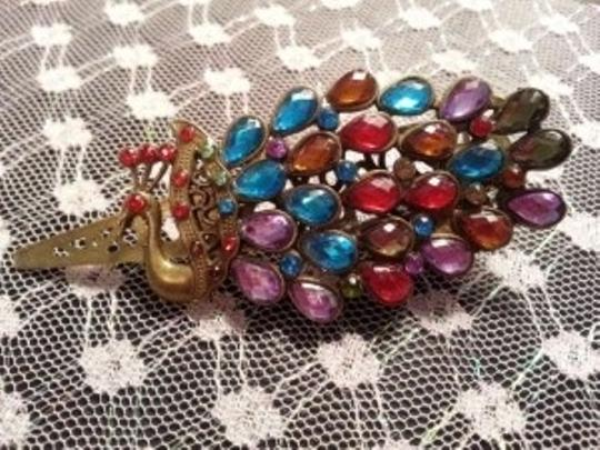 Other Retro Vintage Peacock Colorful Rhinestones Hair Clip Hairpin