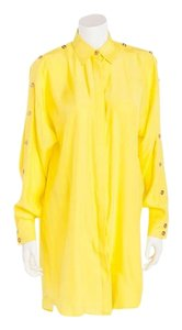 Versace Button Up Blouse Dress Button Down Shirt Yellow