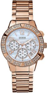 Guess GUESS Women's Rose Gold-Tone Analog Watch With Mother Of Pearl Dial U0141L3