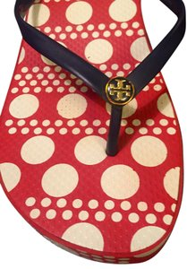 Tory Burch Red, white, navy Sandals