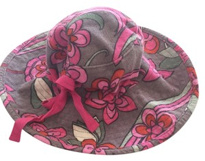 Juicy Couture Wide-Brimmed Sun Hat Gray with Flowers