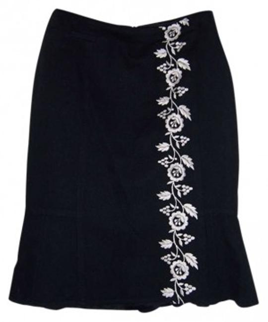 Nanette Lepore & Embroidered Pleated Cotton And Floral Usa Skirt Black White