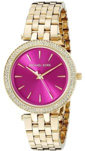 Michael Kors Michael Kors Mini Darci MK3444 Gold Stainless Pink Dial Glitz Watch