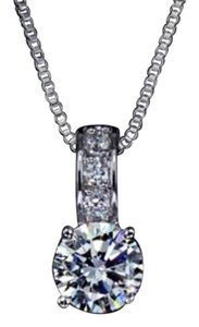 Ladies 2ct AAA CZ brilliant Diamond pendant necklace