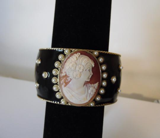 AMEDEO Amedeo NYC Oval Cameo Black Enamel Hinged Bracelet