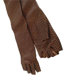 Chanel CHANEL AUTHENTIC NWT KHAKI BRONZE METALLIC FINGERLESS LAMBSKIN GLOVES