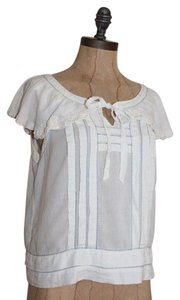 Anthropologie Peasant Hippie Boho Top IVORY