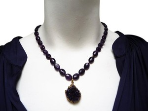 Other Amethyst Semi Precious stone beaded Necklace and Drop Pendant Handmade 18
