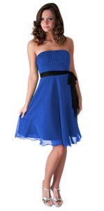 Blue Strapless Chiffon Pleated Bust Dress