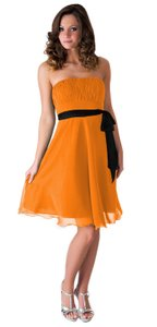 Orange Strapless Chiffon Pleated Bust Dress