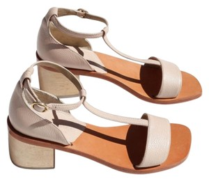 Rachel Comey Wood Pebbled Leather Leather Ankle Strap T-strap Blush Pink Sandals