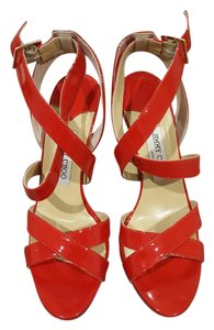 Jimmy Choo Plat Platform Neon Sandals Chili Red Platforms