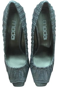 Moda Spana Peep Toe Heels Metallic Pewter Pumps