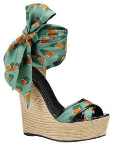 Gucci Carolina Heartbeatbeach Ball Satin Multi-Color Platforms