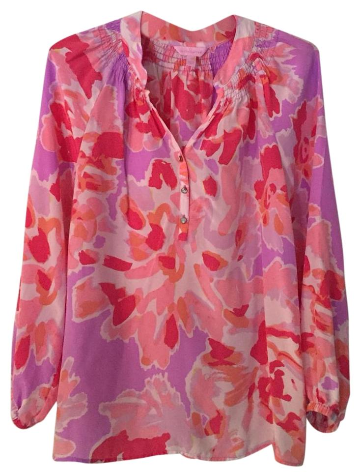 bbc174b2d659c5 Lilly Pulitzer Pink Else Floral Silk Blouse Size 6 (S) - Tradesy