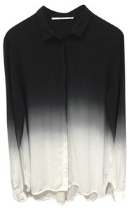 Part Two Danish Brand Loose Fit New Without Tags Button Down Shirt Black and White Ombre