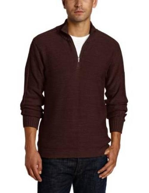 Columbia Mock Neck *athletic Fit *half Zip Cotton *rib Details On Cuffs Sweater